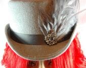 Hat - Victorian - Burlesque - Goth -  Velour Grey Top Hat with feathers, Noxenlux Chapeaux