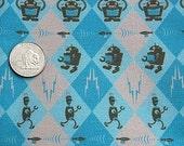 RESERVED for jenjen21: Retro Robotic Fabric - blue/brown