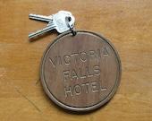 Vintage Wood Victoria Falls Hotel Zimbabwe Africa Keys Fob