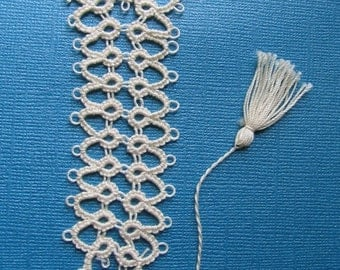 Handmade Tatted Bookmark Beige (Large)