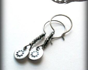 Silver Flower Earrings - Handstamped Jewelry - Minimalist Jewelry -  Sterling Silver Small Earrings - Beaded Earrings - Daisy Earrings