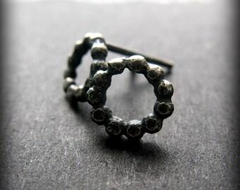 Circle Post Earrings, Oxidized Silver Earrings, Small Post Earrings,Beaded Wire Earrings, Dark Silver Jewelry, Minimalist Earring Studs