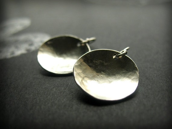 Small Silver Earrings, Sterling Silver Disc Earrings, Brushed Silver Earrings, Silver Concave Earrings, Hammered Silver Dangle Earrings