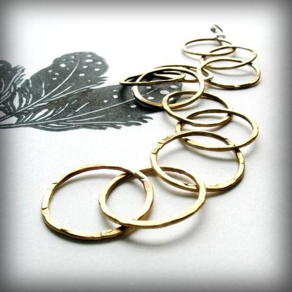 Brass Bracelet with Sterling Silver Closure, Mixed Metals, Boho Brass Bracelet, Brass Circle Bracelet, Hammered Brass Bracelet - Sylvia