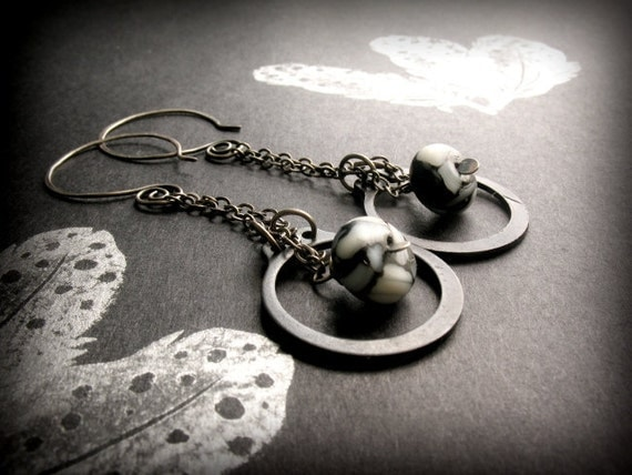 Steel Earrings with Rustic Sterling Silver and Blackstone Shell, Snap Ring - Snow Shells