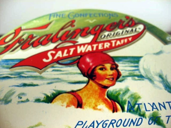 vintage atlantic city salt water taffy tin - treasury item