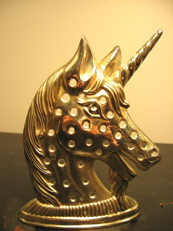 vintage silver plated unicorn earring holder