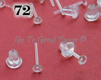 72 Plastic Post Earring Findings, Clear Plastic Studs w/ Backs, makes 36 pairs of earrings, piercing retainers, jewelry supply, DIY