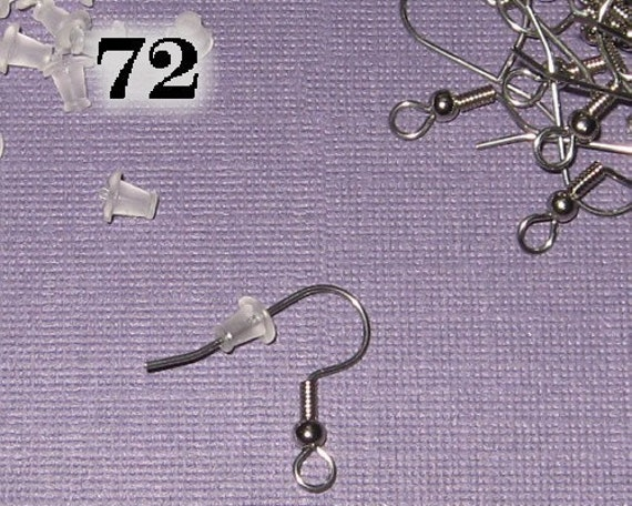 72 French Hook Ear Wires, Surgical Stainless Steel, 3mm Loop--with 72 clear rubber earring backs, bullet clutches, earring supplies findings