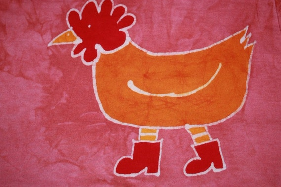 Batik Chicken in Boots Play Dress-  Girls Size 8, 10, or 12