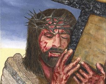 8 x 10 print Jesus carrying his cross