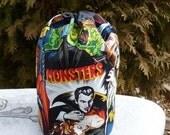 Drawstring bag, WIP bag, knitting project bag, movie monsters, Suebee