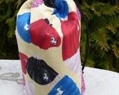 Retro Drawstring bag, WIP bag, knitting project bag, poodle skirts, Suebee