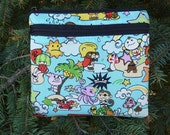 Kawaii purse with shoulder strap option, clutch,wristlet, hipster bag, anime-zingly cute in blue, waist pack, The Squirrel