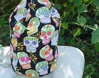 Drawstring bag, WIP bag, knitting project bag, sugar skulls, Suebee
