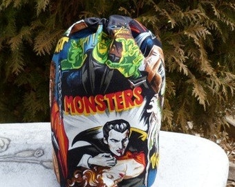 Drawstring bag, WIP bag, knitting project bag, movie monsters, Suebee