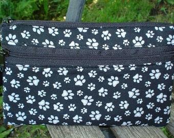 Dog paws mini wallet, purse organizer, wristlet, Sweet Pea