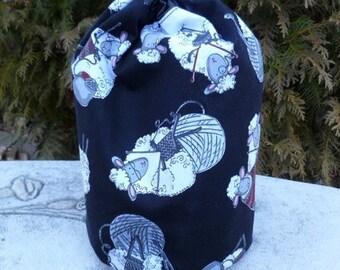 Drawstring bag, WIP bag, knitting project bag, knitting sheep, Suebee
