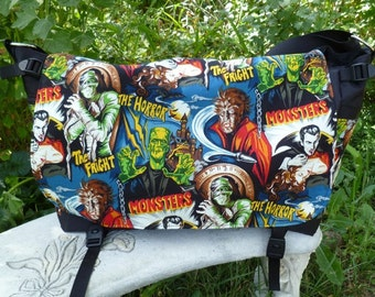 Monster Messenger Bag, Diaper Bag, Laptop bag, Project Bag, Movie Monsters, Panther Deluxe