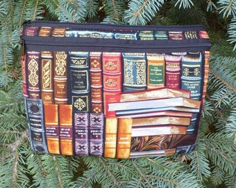 Padded case for Kindle 3rd Gen Touch and Fire, Nook 2nd Gen,Galaxy Tab 7, optional shoulder strap or wristlet, classic books, Elm Deluxe