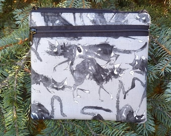 Ghastlie iPhone purse with shoulder strap option, clutch,wristlet, hipster bag, waist pack, Sebastian Ghastlie, The Squirrel