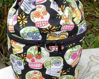 WIP knitting bag, drawstring bag, knitting in public bag, sugar skulls, small project bag, Kipster