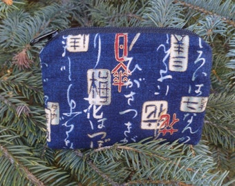 Japanese Coin Purse, credit card pouch, kanji on navy stitch marker pouch, The Raven