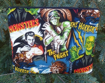 Sleeve for iPad2 and iPad3, small tablets and netbooks, with optional shoulder strap or wristlet, movie monsters, The Boda