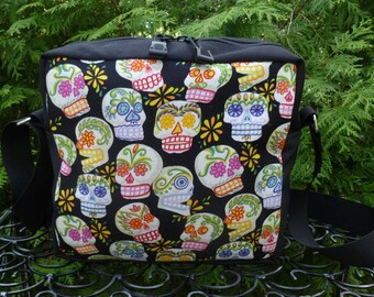 Day of the Dead shoulder bag, zippered cross body bag, medium sized, sugar skulls, The Raccoon