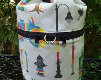 Graffiti Knitting bag, drawstring bag, wip bag, knitting in public bag, yarn bombing, small project bag, Kipster