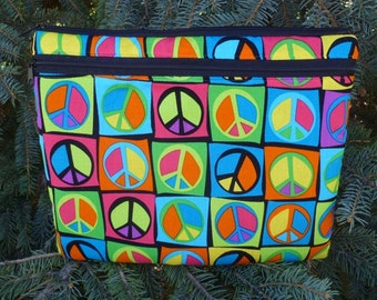 Peace sign case for iPad2, iPad3 small tablets netbooks, optional shoulder strap or wristlet, flower child, Boda Deluxe