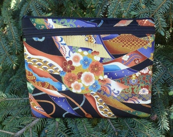 Japanese case for iPad2,iPad3 small tablets netbooks, optional shoulder strap or wristlet, Japanese ribbons, Boda Deluxe