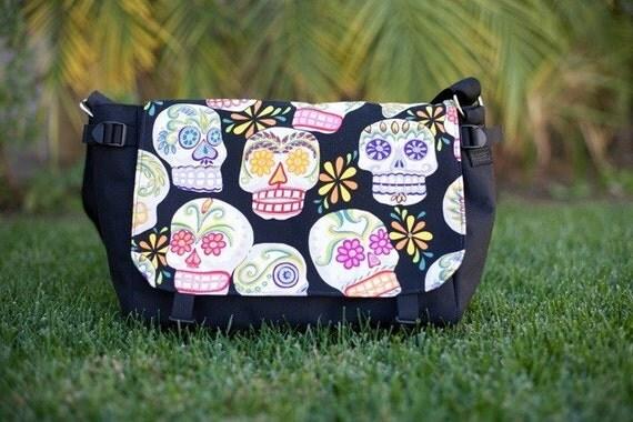 Sugar skulls with glitter messenger bag, project bag, diaper bag, The Zelda
