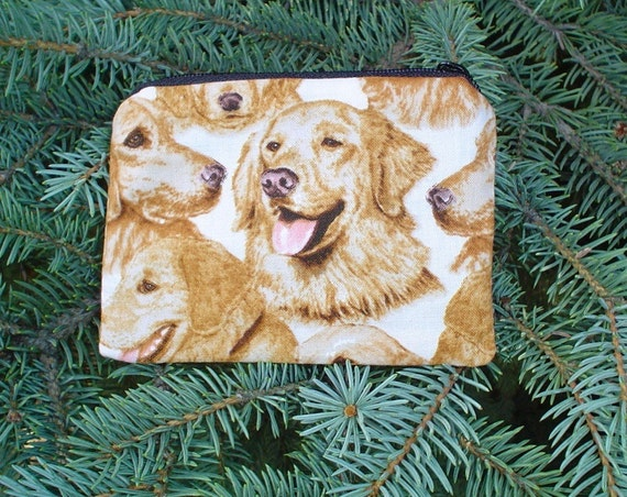Golden Retriever coin purse, credit card pouch, gift card pouch, stitch marker pouch,The Raven