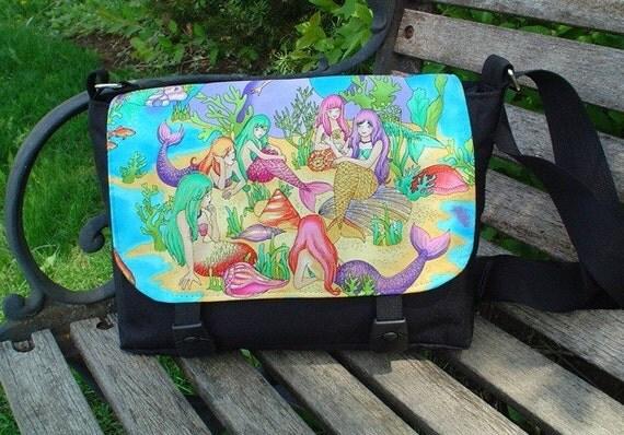 Mermaids messenger bag , mini messenger, shoulder bag, cross body bag, The Zeldina