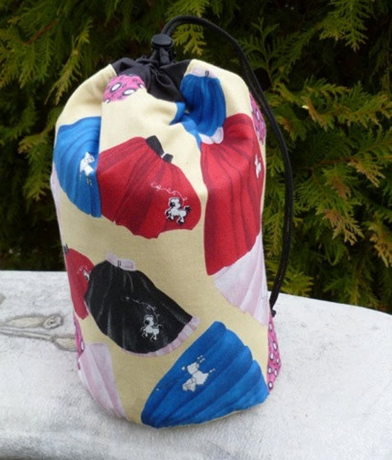 Retro Drawstring bag, WIP bag, knitting project bag, poodle skirts, Suebee