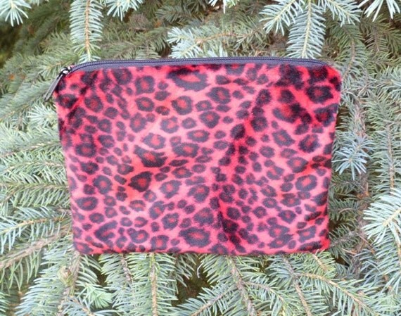 Red leopard faux fur zippered bag, makeup case, accessory bag, The Scooter