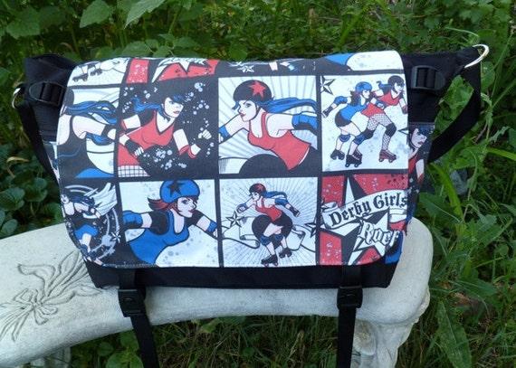 Roller derby messenger bag, diaper bag, project bag, Derby girls rock Lynx Deluxe