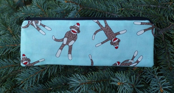 Sock Monkey pencil case, zippered pencil case, pen and pencil case, Pick your color,The Scribe