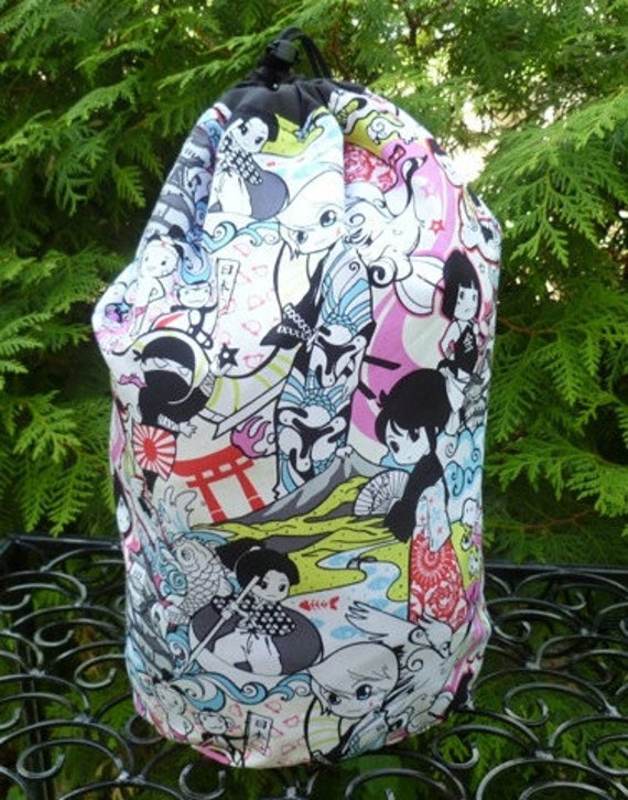 Japanese drawstring bag, WIP bag, knitting project bag, Momotaro, Large Suebee