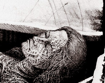 Spirit Canoe - Original Stone Lithograph