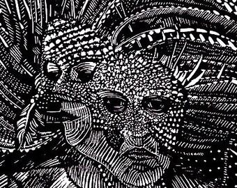 The Printmaker and the Healer II-Original Ross Zirkle Hand Pulled Relief Print