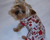 Doggie Days cotton dog pet sleeveless romper pajamas  CUSTOM MADE  choose your trim color