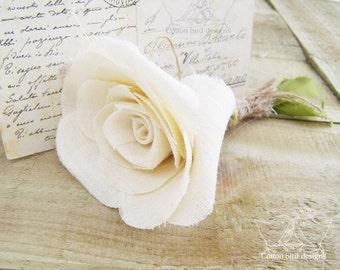 2nd Wedding Anniversary Short Stem Flower in Cream Cotton Fabric