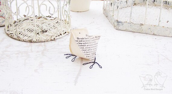 Paper Bird Jane Austin and Mr Darcy - Pride and Prejudice - Recycled Books Home Decor