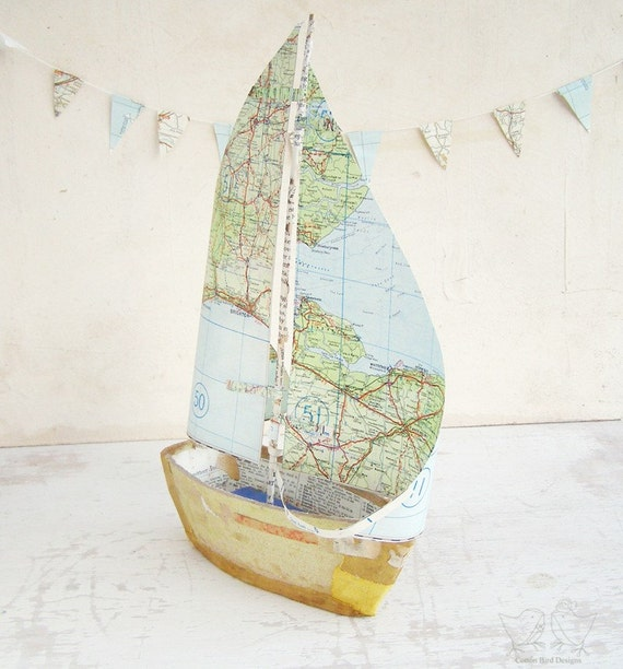 Book Boat with Vintage Map Paper Sails  - Recycled books and papers
