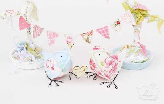 Wedding Cake Topper Floral Summer Tea Party Love Birds with Personalised heart Blue and Cream