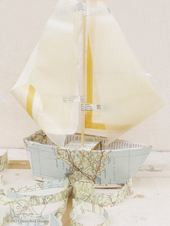 Vintage Map Paper Boat Mixed Media Sculpture Home and Nursery Decor