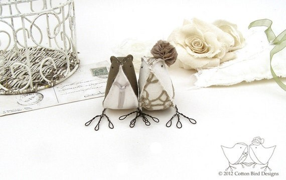 Wedding Cake Topper Love Birds Fabric Birds Dark Taupe and Vintage Embroidery