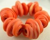 Twisted - Phoenix   - Lampwork beads (6) - Libelula Designs, SRA